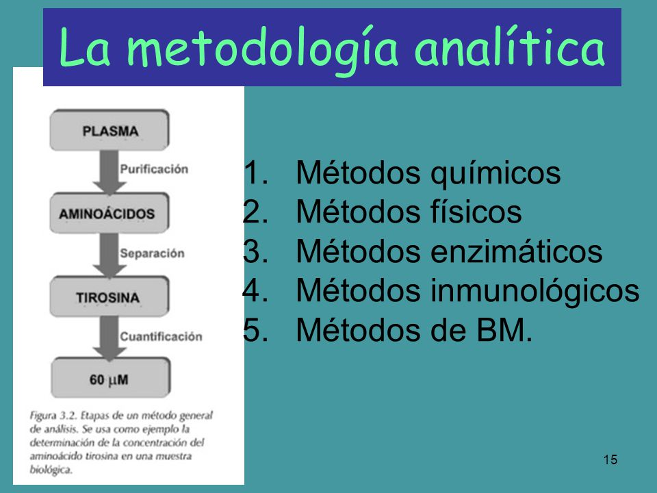 15 La metodología analítica 1.Métodos químicos 2.Métodos físicos 3.Métodos enzimáticos 4.Métodos inmunológicos 5.Métodos de BM.