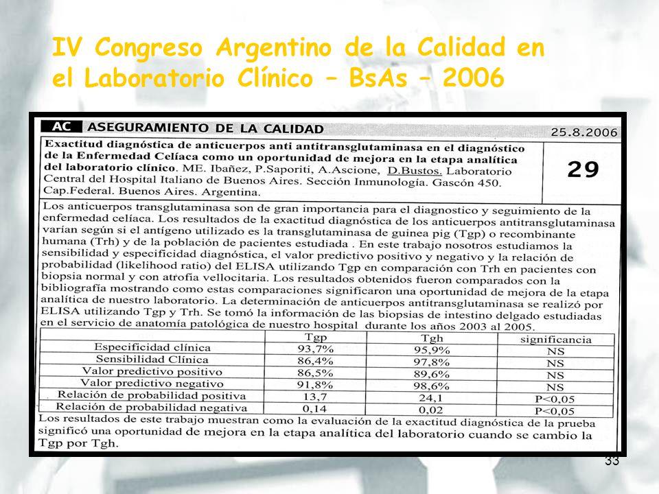 33 IV Congreso Argentino de la Calidad en el Laboratorio Clínico – BsAs – 2006