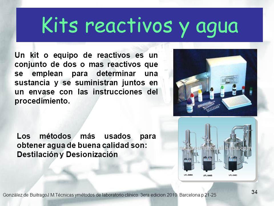 34 González de BuitragoJ.M.Técnicas ymétodos de laboratorio clínico. 3era edicion.2010. Barcelona p 21-25 Un kit o equipo de reactivos es un conjunto