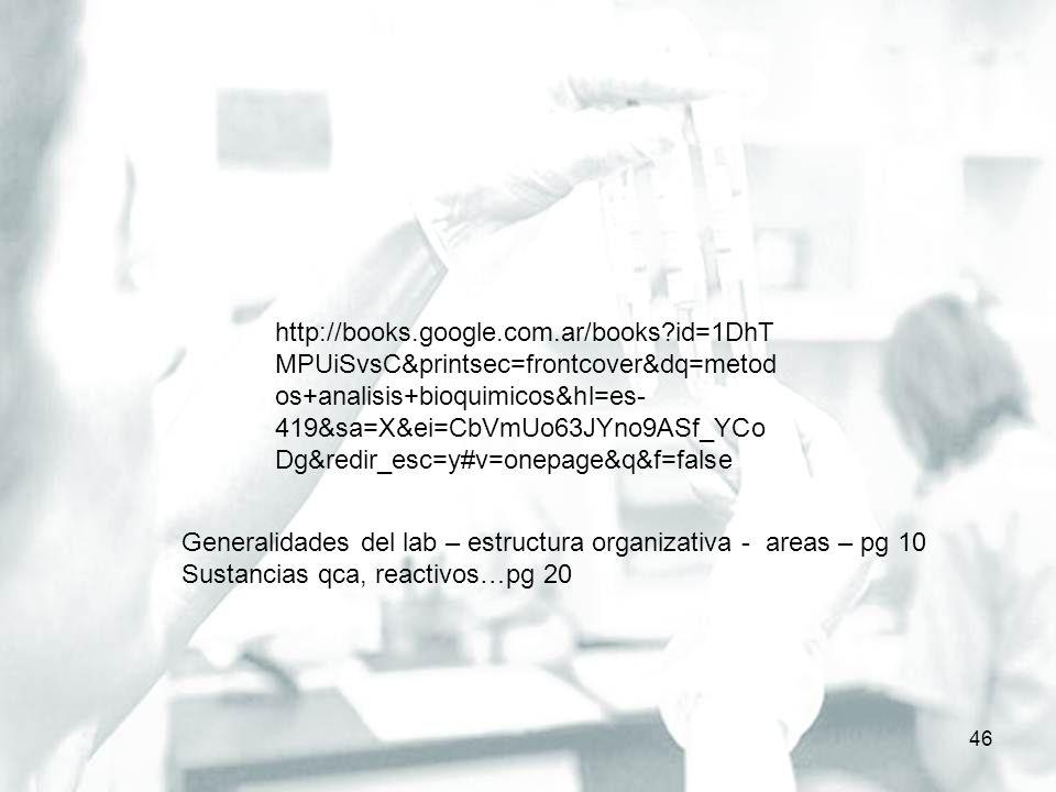 46 http://books.google.com.ar/books?id=1DhT MPUiSvsC&printsec=frontcover&dq=metod os+analisis+bioquimicos&hl=es- 419&sa=X&ei=CbVmUo63JYno9ASf_YCo Dg&r