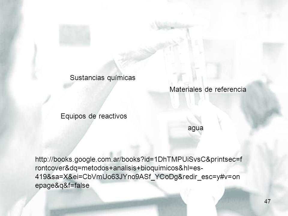 47 Sustancias químicas Materiales de referencia Equipos de reactivos http://books.google.com.ar/books?id=1DhTMPUiSvsC&printsec=f rontcover&dq=metodos+
