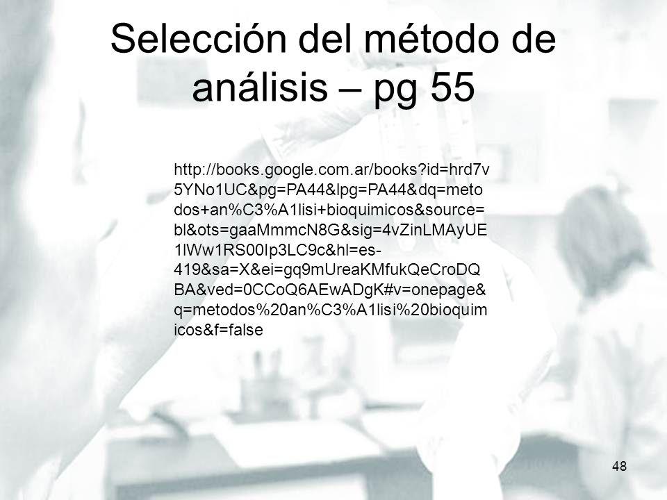 Selección del método de análisis – pg 55 48 http://books.google.com.ar/books?id=hrd7v 5YNo1UC&pg=PA44&lpg=PA44&dq=meto dos+an%C3%A1lisi+bioquimicos&so