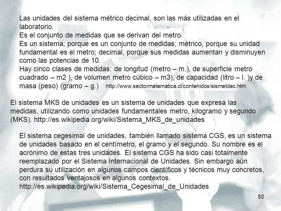 http://www.sectormatematica.cl/contenidos/sismetdec.htm 50 Las unidades del sistema métrico decimal, son las más utilizadas en el laboratorio. Es el c