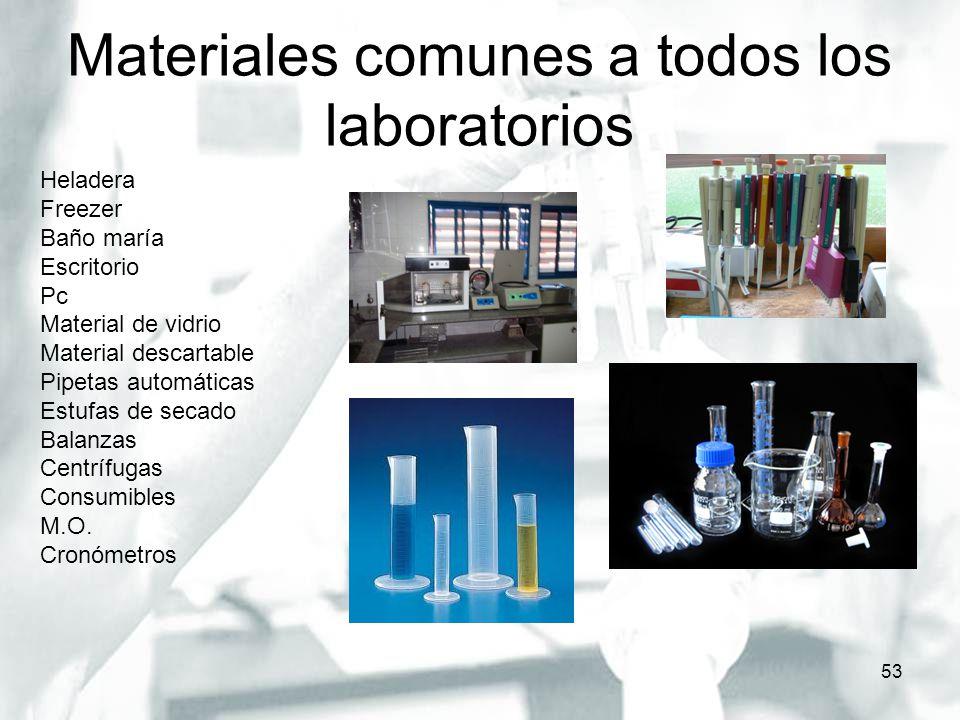 Materiales comunes a todos los laboratorios 53 Heladera Freezer Baño maría Escritorio Pc Material de vidrio Material descartable Pipetas automáticas E