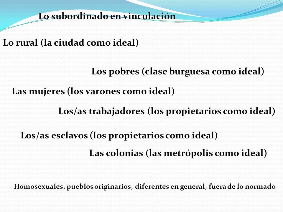 Lo subordinado en vinculación Lo rural (la ciudad como ideal) Los pobres (clase burguesa como ideal) Las mujeres (los varones como ideal) Los/as traba