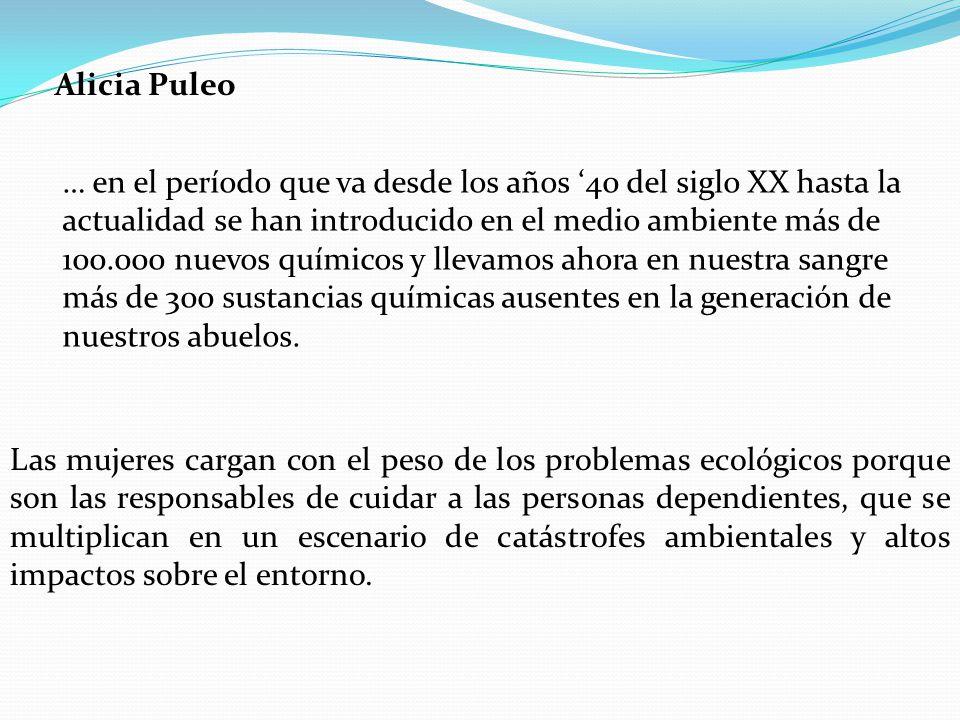 Alicia Puleo … en el período que va desde los años 40 del siglo XX hasta la actualidad se han introducido en el medio ambiente más de 100.000 nuevos q