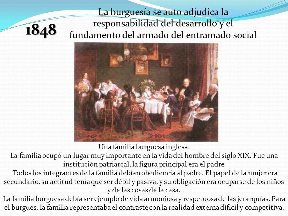1848 La burguesía se auto adjudica la responsabilidad del desarrollo y el fundamento del armado del entramado social Una familia burguesa inglesa. La