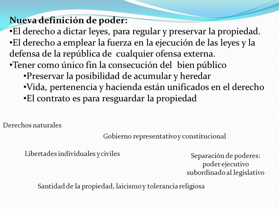 Nueva definición de poder: El derecho a dictar leyes, para regular y preservar la propiedad. El derecho a emplear la fuerza en la ejecución de las ley