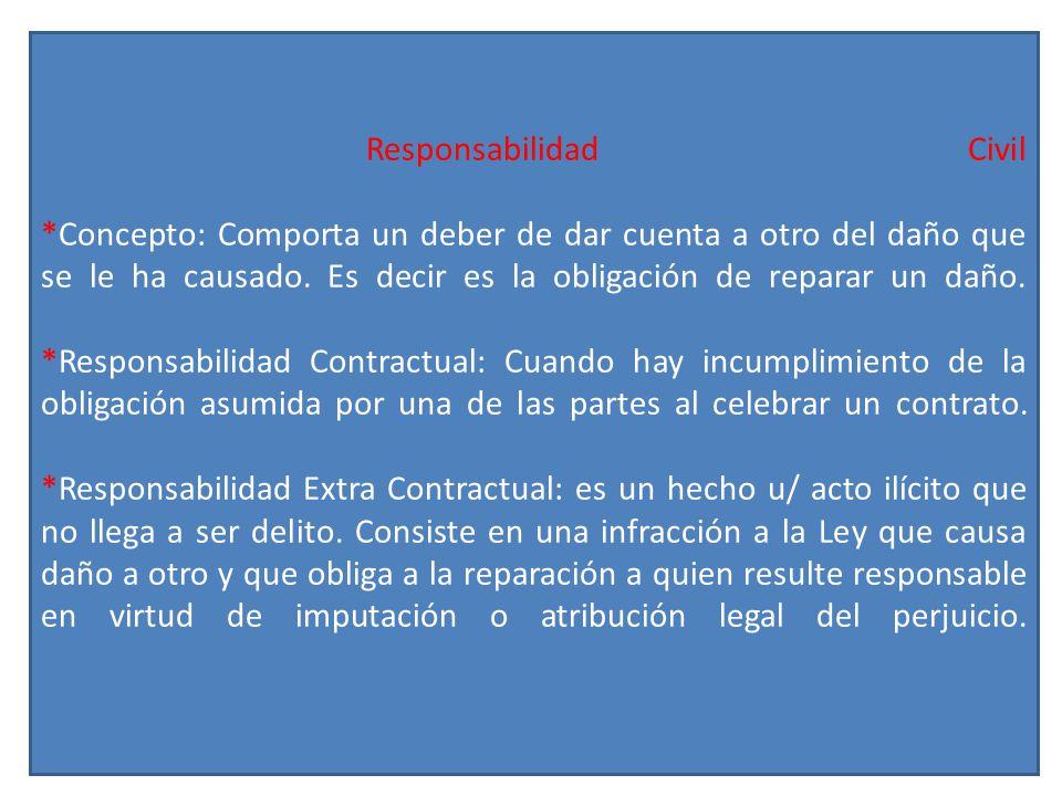 Responsabilidad Civil *Concepto: Comporta un deber de dar cuenta a otro del daño que se le ha causado. Es decir es la obligación de reparar un daño. *