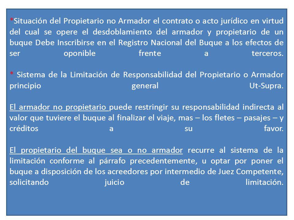 *Situación del Propietario no Armador el contrato o acto jurídico en virtud del cual se opere el desdoblamiento del armador y propietario de un buque