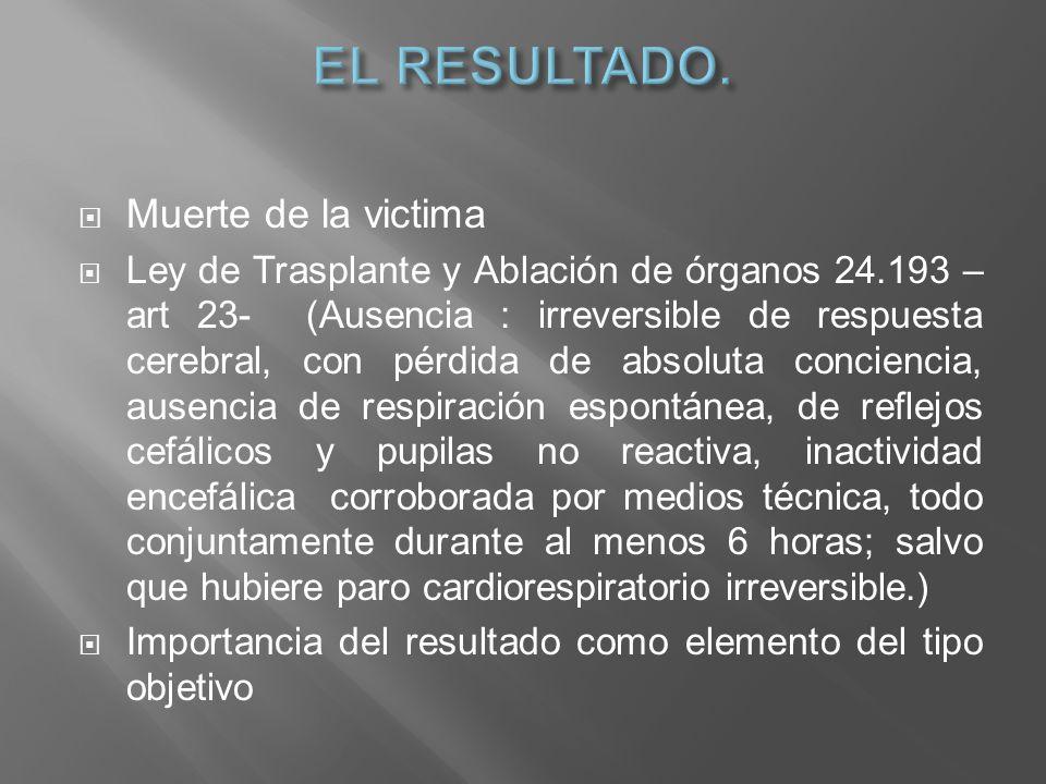 Muerte de la victima Ley de Trasplante y Ablación de órganos 24.193 – art 23- (Ausencia : irreversible de respuesta cerebral, con pérdida de absoluta