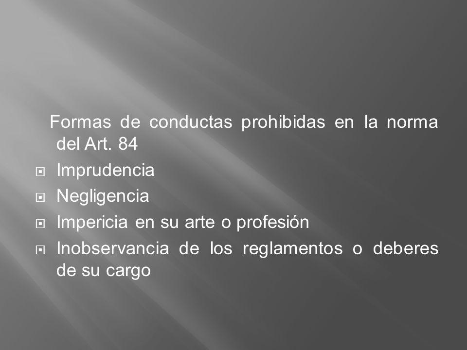 Formas de conductas prohibidas en la norma del Art. 84 Imprudencia Negligencia Impericia en su arte o profesión Inobservancia de los reglamentos o deb