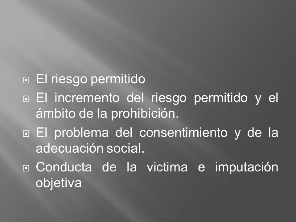 El riesgo permitido El incremento del riesgo permitido y el ámbito de la prohibición. El problema del consentimiento y de la adecuación social. Conduc