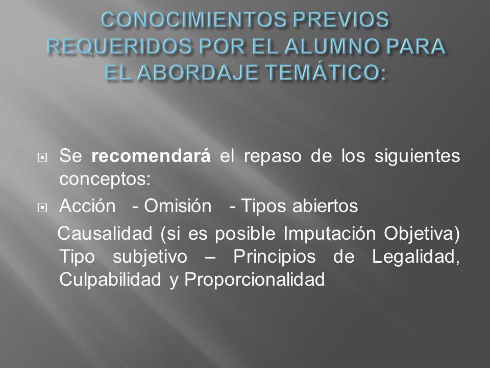 Se recomendará el repaso de los siguientes conceptos: Acción - Omisión - Tipos abiertos Causalidad (si es posible Imputación Objetiva) Tipo subjetivo