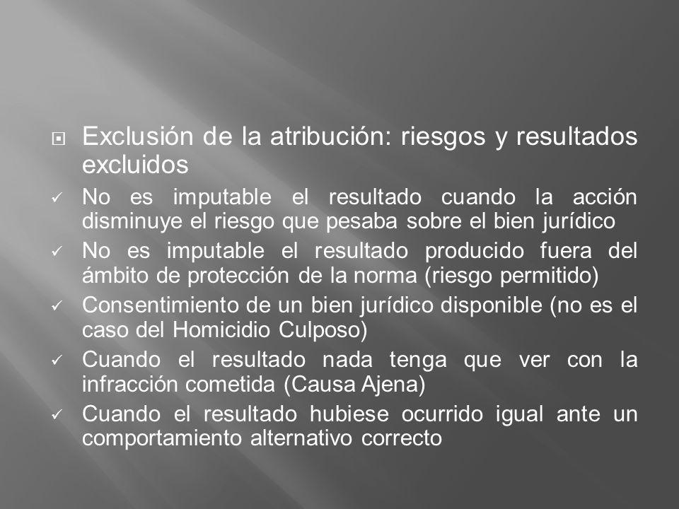 Exclusión de la atribución: riesgos y resultados excluidos No es imputable el resultado cuando la acción disminuye el riesgo que pesaba sobre el bien