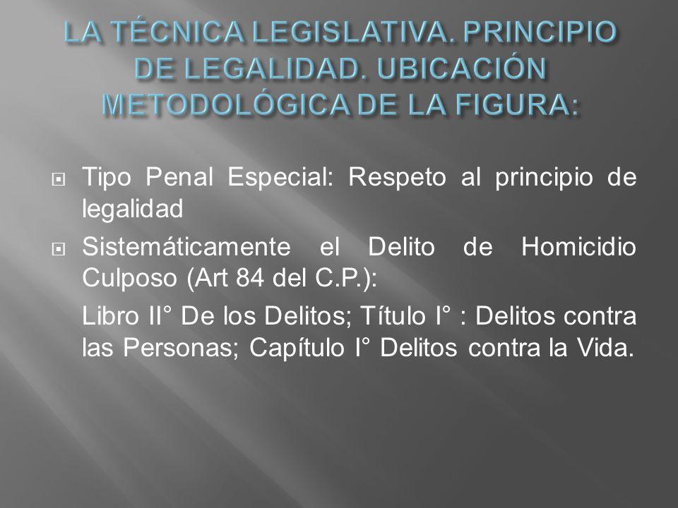 Tipo Penal Especial: Respeto al principio de legalidad Sistemáticamente el Delito de Homicidio Culposo (Art 84 del C.P.): Libro II° De los Delitos; Tí