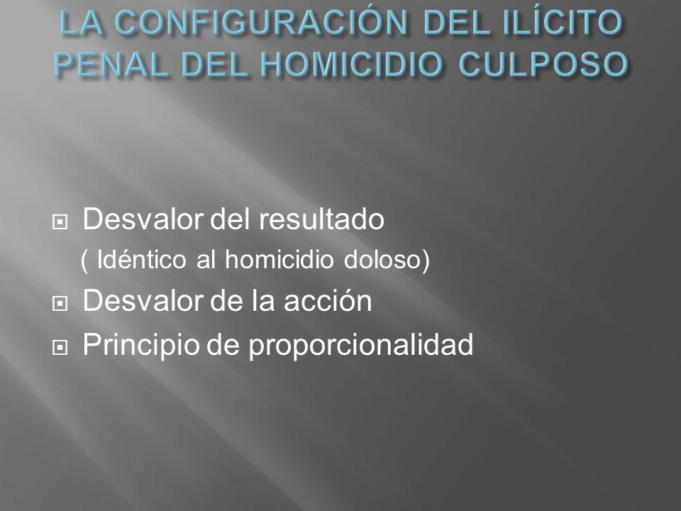 Desvalor del resultado ( Idéntico al homicidio doloso) Desvalor de la acción Principio de proporcionalidad