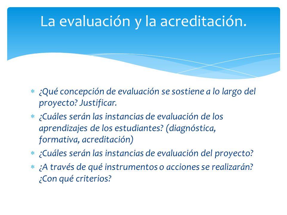 ¿Qué concepción de evaluación se sostiene a lo largo del proyecto? Justificar. ¿Cuáles serán las instancias de evaluación de los aprendizajes de los e