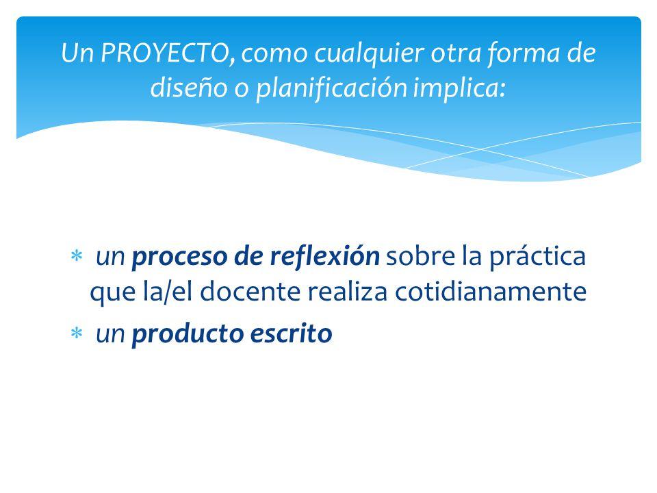 un proceso de reflexión sobre la práctica que la/el docente realiza cotidianamente un producto escrito Un PROYECTO, como cualquier otra forma de diseñ