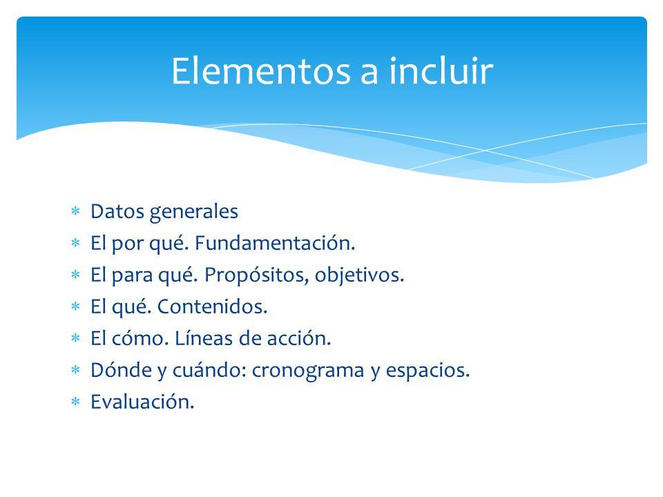Al inicio: Datos: escuela, grados, docentes, áreas, año Nombre: ¿cómo se denomina este proyecto.
