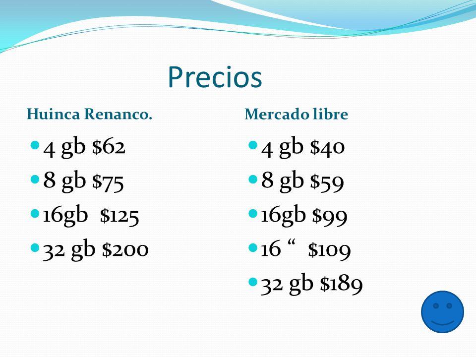 Precios Huinca Renanco. Mercado libre 4 gb $62 8 gb $75 16gb $125 32 gb $200 4 gb $40 8 gb $59 16gb $99 16 $109 32 gb $189