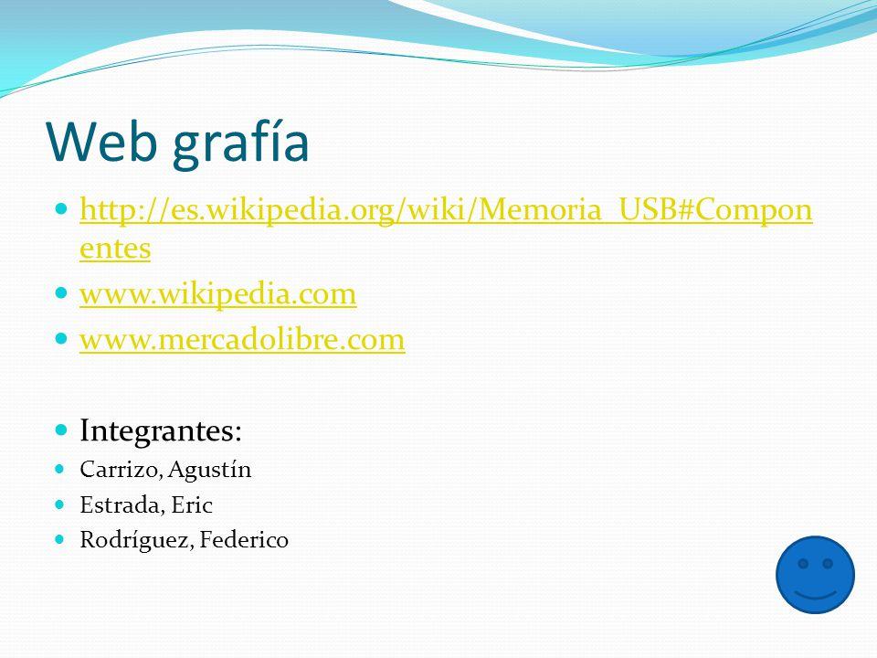 Web grafía http://es.wikipedia.org/wiki/Memoria_USB#Compon entes http://es.wikipedia.org/wiki/Memoria_USB#Compon entes www.wikipedia.com www.mercadoli