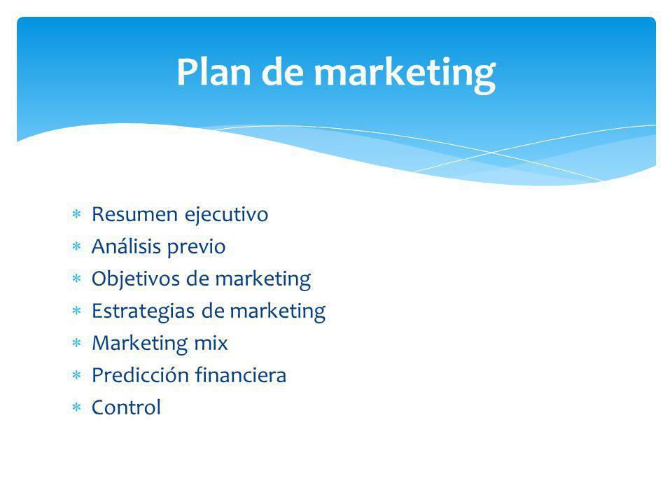 Resumen ejecutivo Análisis previo Objetivos de marketing Estrategias de marketing Marketing mix Predicción financiera Control Plan de marketing