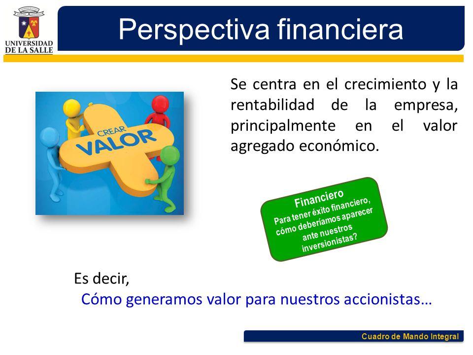 Cuadro de Mando Integral Perspectiva financiera Se centra en el crecimiento y la rentabilidad de la empresa, principalmente en el valor agregado econó
