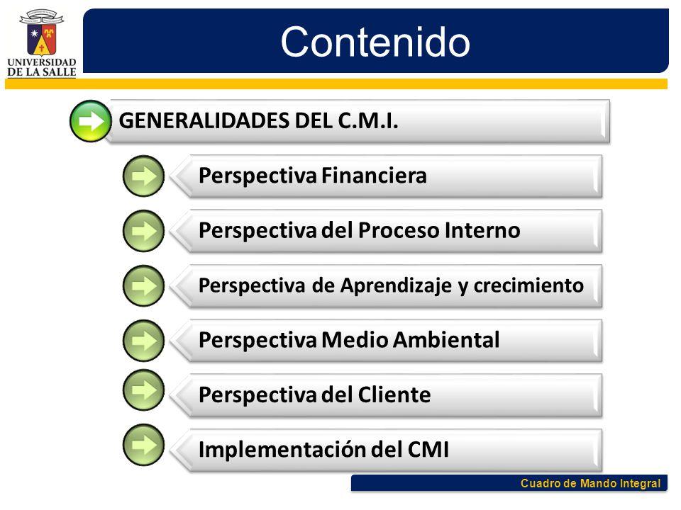 Cuadro de Mando Integral Contenido GENERALIDADES DEL C.M.I. Perspectiva Financiera Perspectiva del Proceso Interno Perspectiva de Aprendizaje y crecim