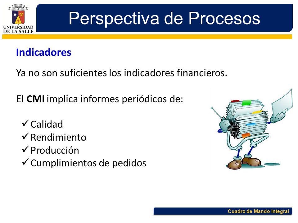Cuadro de Mando Integral Perspectiva de Procesos Indicadores Ya no son suficientes los indicadores financieros. El CMI implica informes periódicos de:
