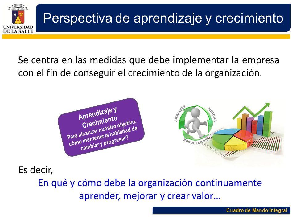 Cuadro de Mando Integral Perspectiva de aprendizaje y crecimiento Se centra en las medidas que debe implementar la empresa con el fin de conseguir el