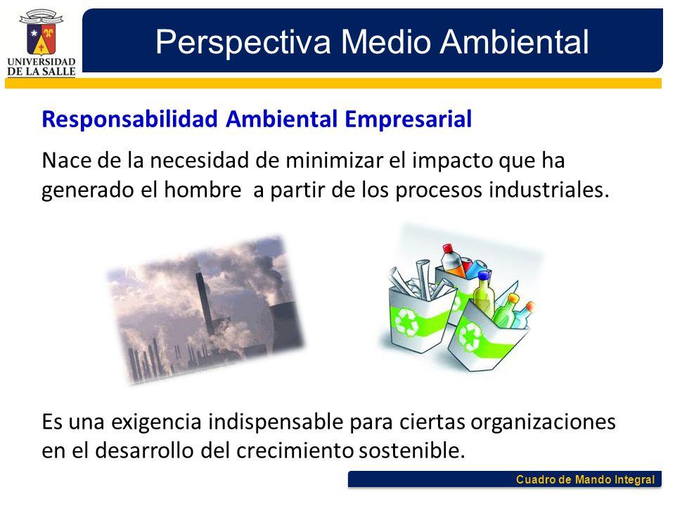 Cuadro de Mando Integral Perspectiva Medio Ambiental Responsabilidad Ambiental Empresarial Nace de la necesidad de minimizar el impacto que ha generad