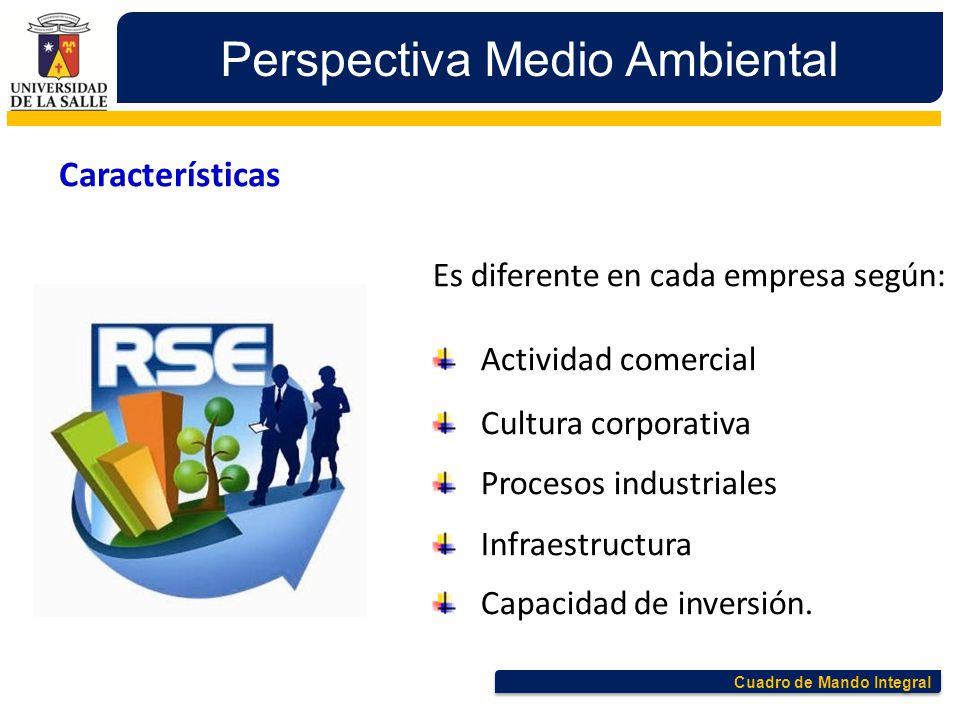 Cuadro de Mando Integral Perspectiva Medio Ambiental Características Es diferente en cada empresa según: Actividad comercial Cultura corporativa Proce