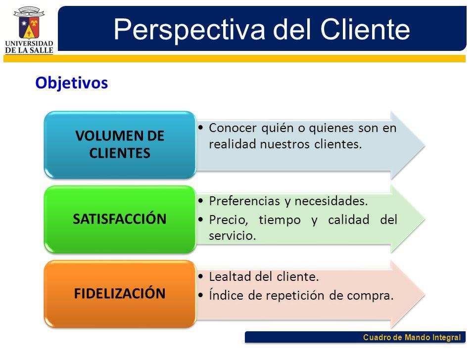 Cuadro de Mando Integral Perspectiva del Cliente Conocer quién o quienes son en realidad nuestros clientes. VOLUMEN DE CLIENTES Preferencias y necesid