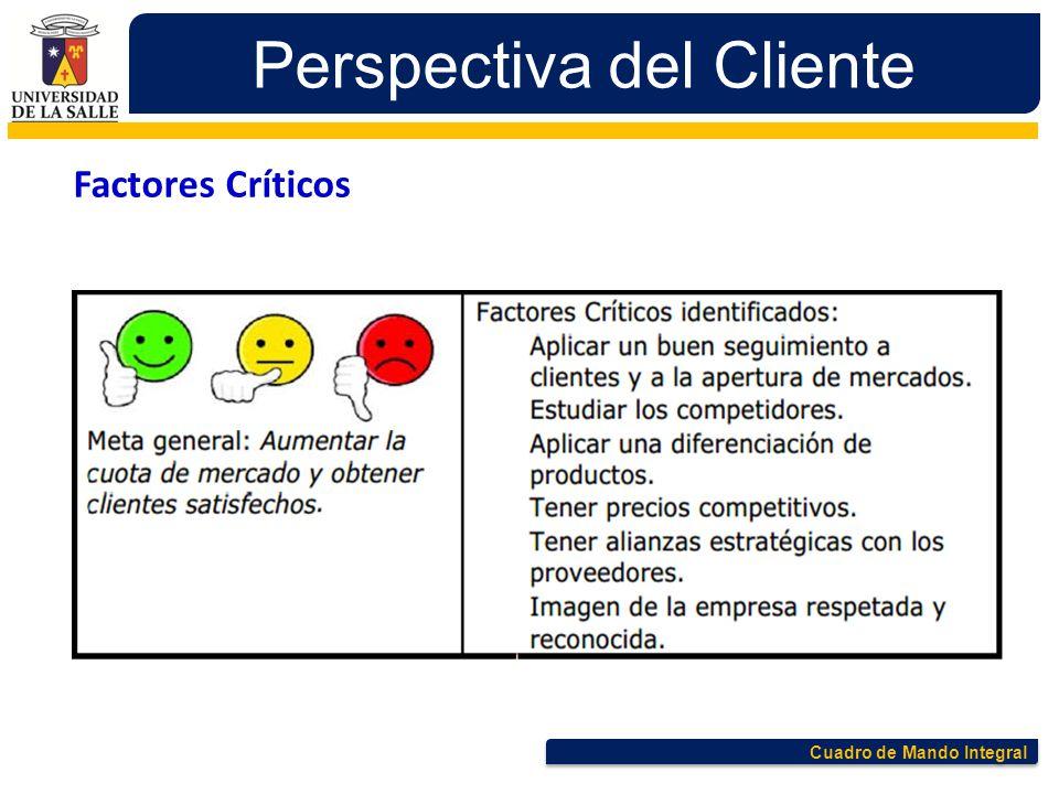 Cuadro de Mando Integral Perspectiva del Cliente Factores Críticos