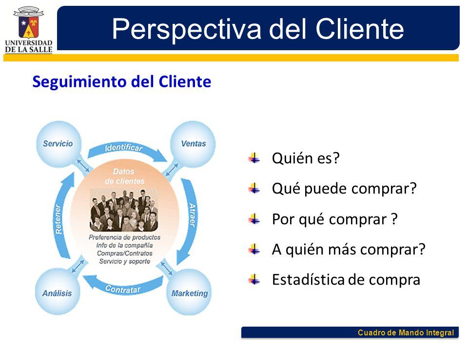Cuadro de Mando Integral Perspectiva del Cliente Quién es? Qué puede comprar? Por qué comprar ? A quién más comprar? Estadística de compra Seguimiento