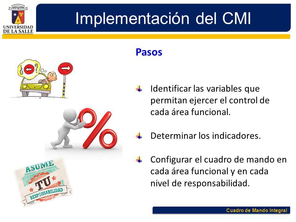 Cuadro de Mando Integral Implementación del CMI Pasos Identificar las variables que permitan ejercer el control de cada área funcional. Determinar los