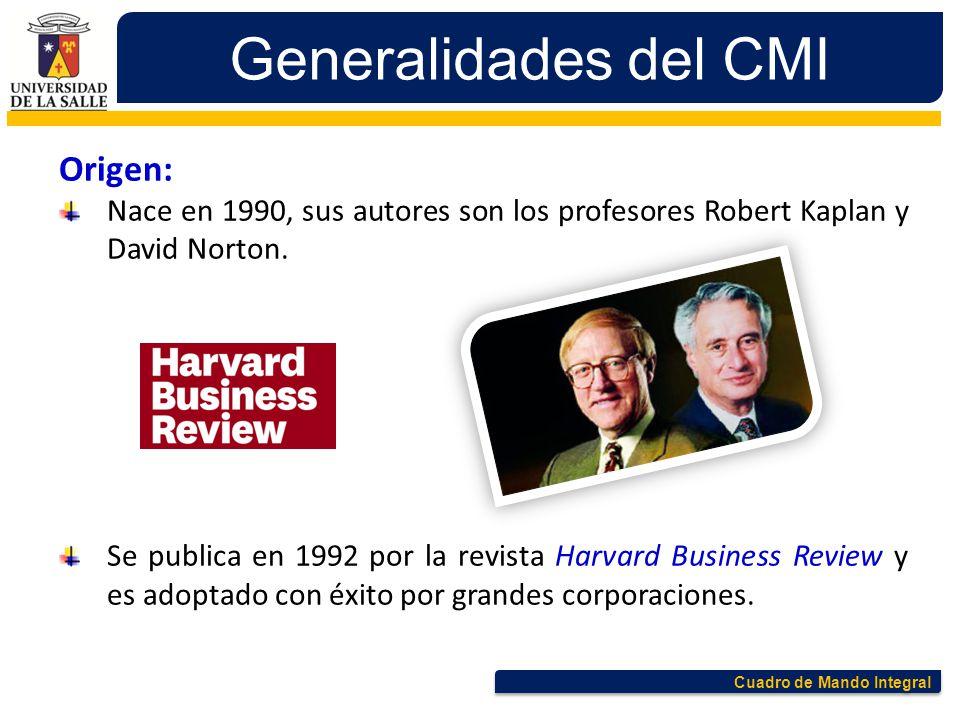 Cuadro de Mando Integral Generalidades del CMI Origen: Nace en 1990, sus autores son los profesores Robert Kaplan y David Norton. Se publica en 1992 p