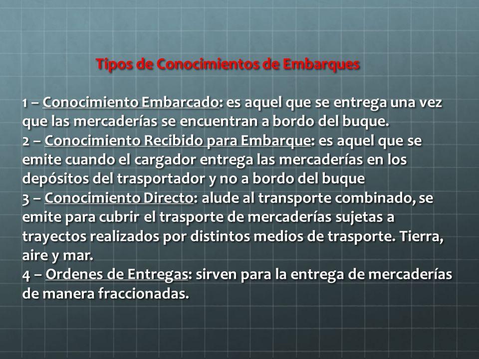Tipos de Conocimientos de Embarques 1 – Conocimiento Embarcado: es aquel que se entrega una vez que las mercaderías se encuentran a bordo del buque.