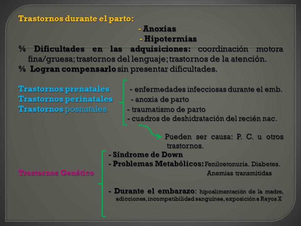 Trastornos durante el parto: - Anoxias - Anoxias - Hipotermias - Hipotermias % Dificultades en las adquisiciones: coordinación motora fina/gruesa; tra