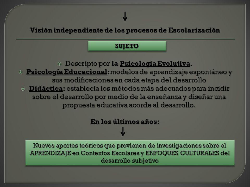 Visión independiente de los procesos de Escolarización Descripto por la Psicología Evolutiva. Descripto por la Psicología Evolutiva. Psicología Educac