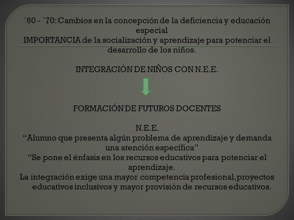 `60 - `70: Cambios en la concepción de la deficiencia y educación especial IMPORTANCIA de la socialización y aprendizaje para potenciar el desarrollo