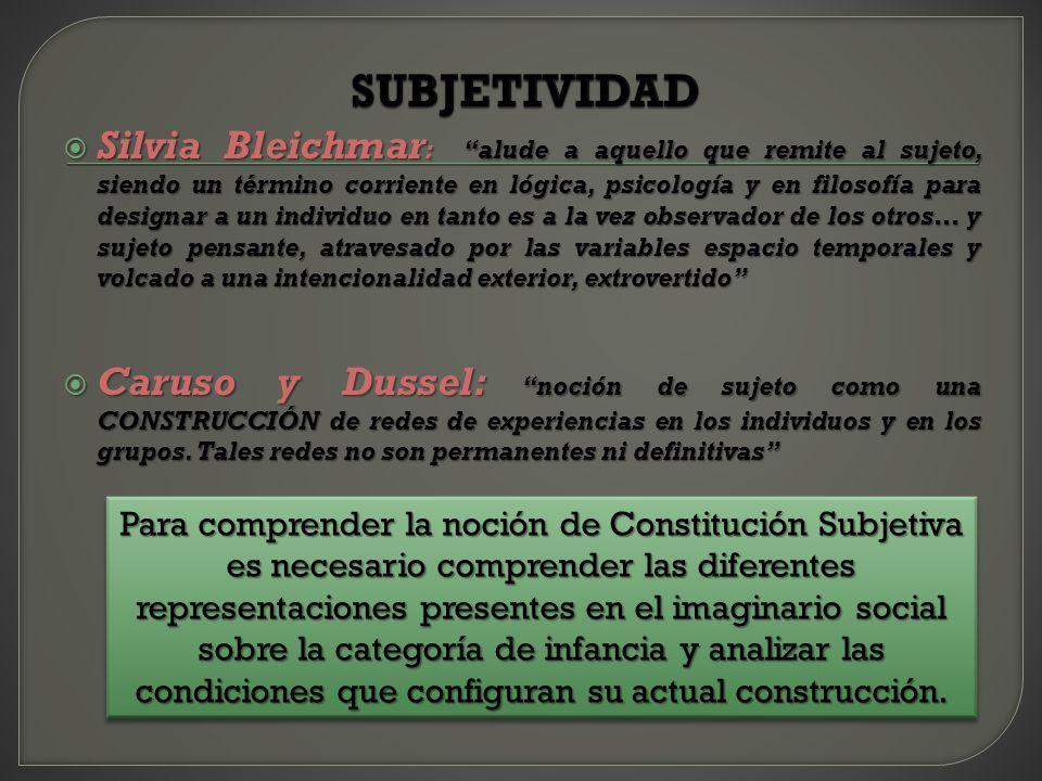 Silvia Bleichmar : alude a aquello que remite al sujeto, siendo un término corriente en lógica, psicología y en filosofía para designar a un individuo