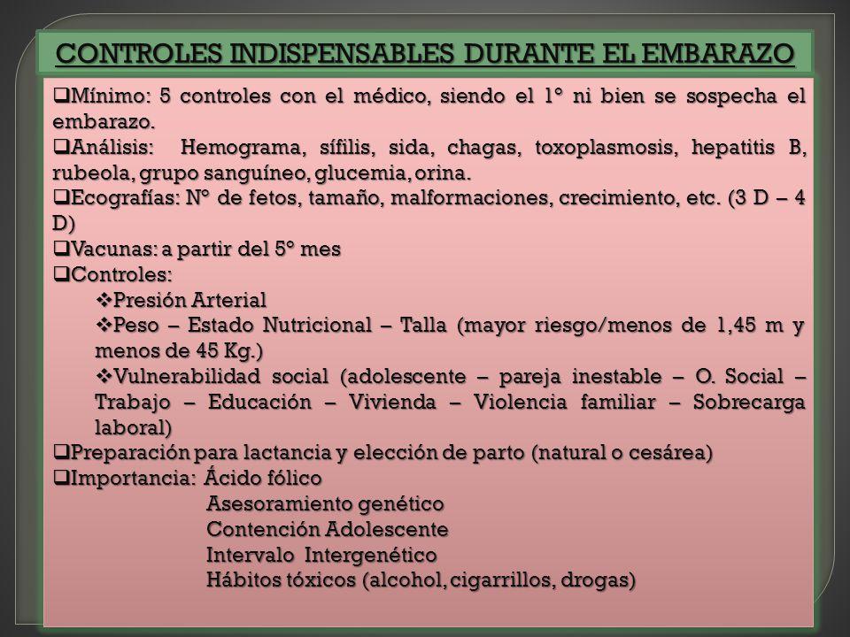 CONTROLES INDISPENSABLES DURANTE EL EMBARAZO Mínimo: 5 controles con el médico, siendo el 1° ni bien se sospecha el embarazo. Mínimo: 5 controles con