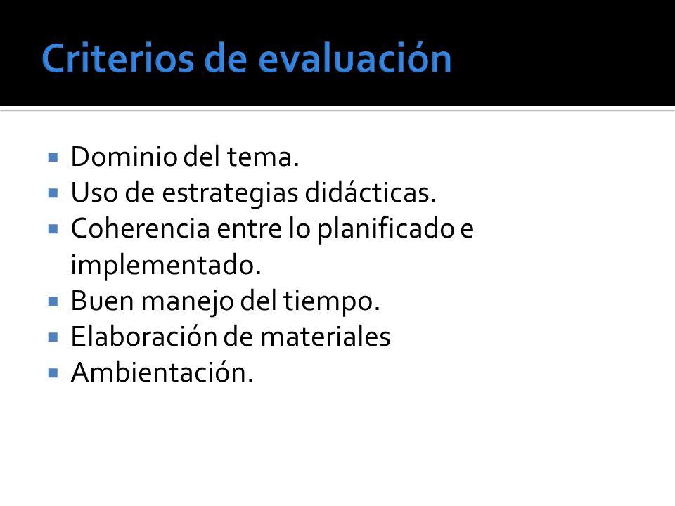 Dominio del tema. Uso de estrategias didácticas. Coherencia entre lo planificado e implementado.