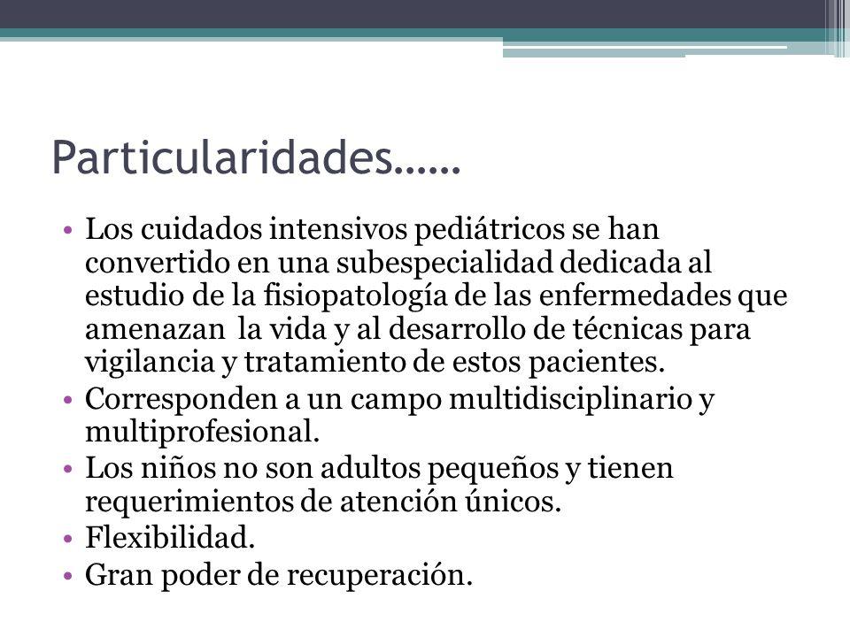Particularidades…… Los cuidados intensivos pediátricos se han convertido en una subespecialidad dedicada al estudio de la fisiopatología de las enferm