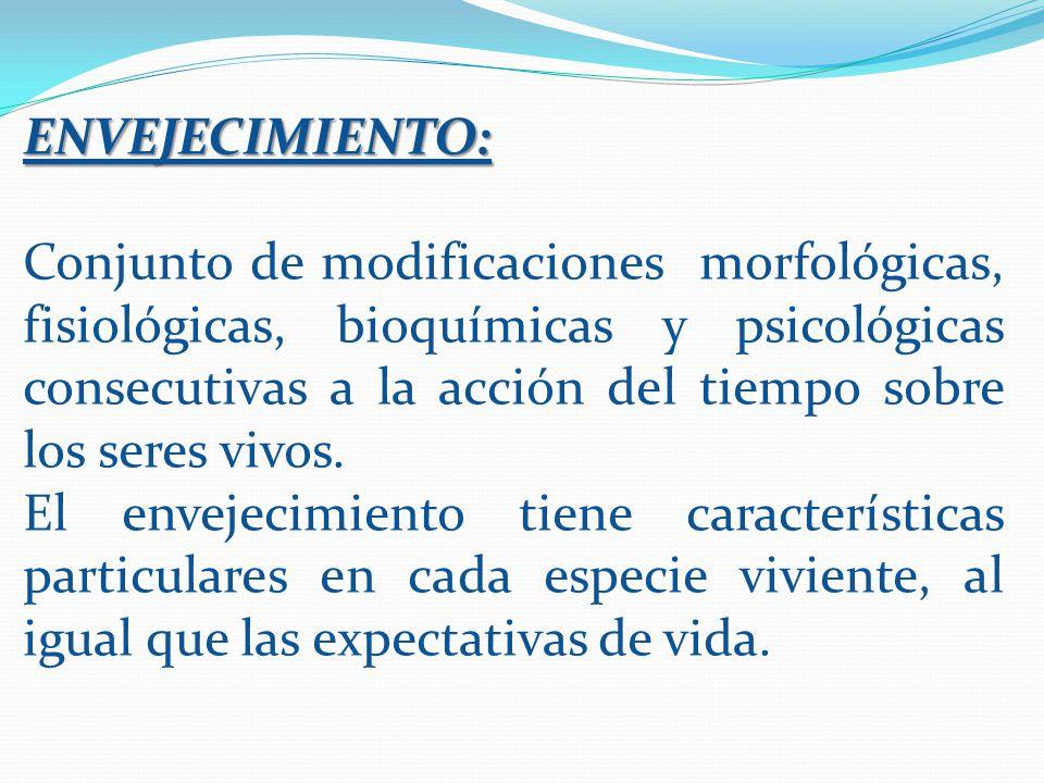 ENVEJECIMIENTO: Conjunto de modificaciones morfológicas, fisiológicas, bioquímicas y psicológicas consecutivas a la acción del tiempo sobre los seres vivos.