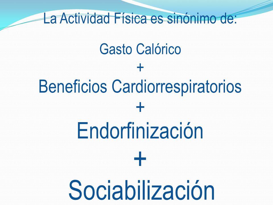 La Actividad Física es sinónimo de: Gasto Calórico + Beneficios Cardiorrespiratorios + Endorfinización + Sociabilización