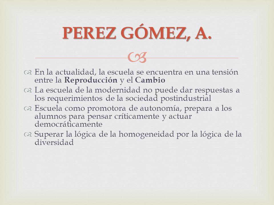 PEREZ GÓMEZ, A. En la actualidad, la escuela se encuentra en una tensión entre la Reproducción y el Cambio La escuela de la modernidad no puede dar re