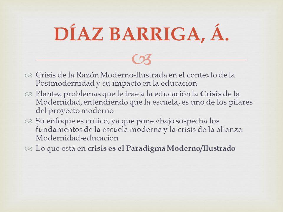 DÍAZ BARRIGA, Á. Crisis de la Razón Moderno-Ilustrada en el contexto de la Postmodernidad y su impacto en la educación Plantea problemas que le trae a